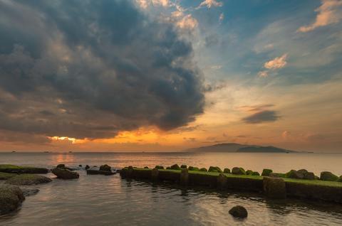 Sunrise Sky Nha Trang Bay Vietnam Asian Seascape Photo