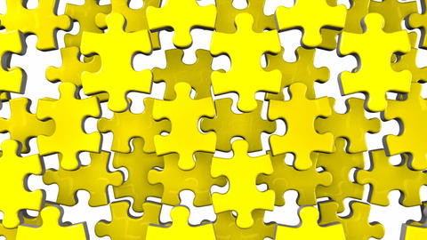 Yellow Jigsaw Puzzle On White Background CG動画