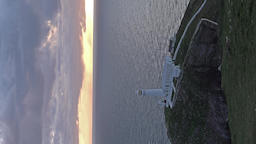 Sunset at historic south stack lighthouse on Anglesey, Wales - United Kingdom Archivo