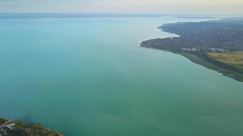 4K aerial skyline view of Lake Balaton with Fuzfoi-obol Footage