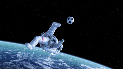 Bicycle Kick in Space, Astronaut Shoots on Goal Animation