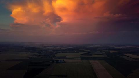 4K Huge colorful thunderstorm above Balatonfuzfo, Veszprem county at sunset Live Action