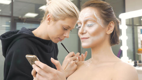 Make-up artist draws body art on the model. Preparing for a photo session Footage