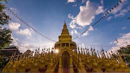 Sunset and cloud moving at pagoda in Wat Pasawangboon, Saraburi Thailand Footage