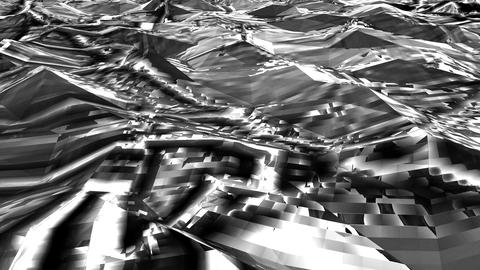 Black-white Low Poly Sea Abstract Background. Seamlessly Loopable Animation