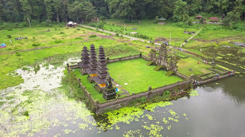 Aerial view of hindu temple ruins and lake in Bali Footage