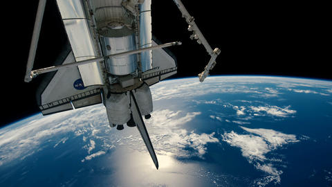 Shuttle Discovery Orbiting the Earth Footage