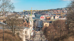 Oslo city skyline timelapse at Karl Johans gate the famous shopping street of Footage