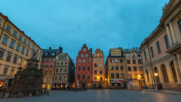 Stockholm city skyline night to day timelapse at Gamla Stan old town and Footage