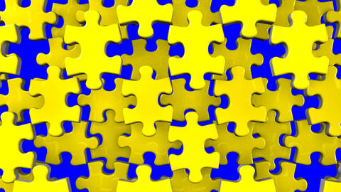 Yellow Jigsaw Puzzle On Blue Chroma Key CG動画