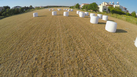 Haystack carefully packed after harvesting campaign on farm field, aerial view Footage