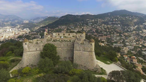 Aerial view of Mediterranean sea and old fortress in Provence Alpes Cote dAzur Live Action
