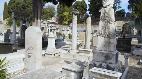 View of sad gray graves at old Jewish cemetery near famous Chateau graveyard Footage