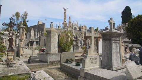 View of tombs of famous people and some of best funerary monuments in Europe Footage