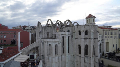 Convento do Carmo ruins in Lisbon Footage