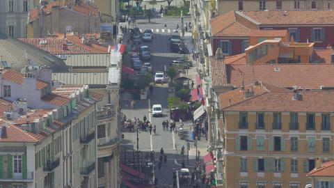 Tourists walking in narrow street of Nice, transport and architecture, tourism Footage