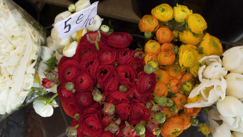 High prices for bouquets of tulips and roses on city market, garden business Footage