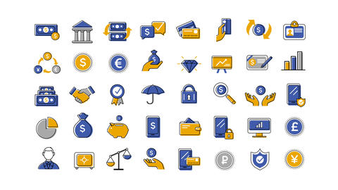 40 Animated Finance And Banking Icons After Effects Template
