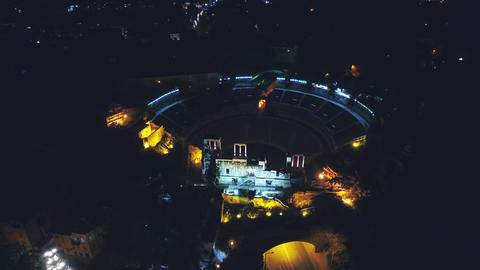 Night Aerial traffic in Plovdiv antique theatre Footage