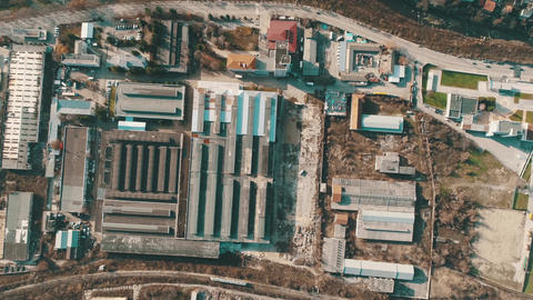 Old Factory -Aerial ,train,industrial zones ,top view Live Action