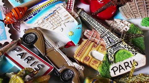 Tourism concept Travelling souvenirs Paris Holland fridge magnets Footage