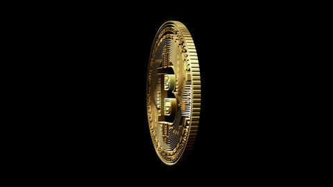3D Cutout Bitcoin rotating on alpha background Stock Video Footage