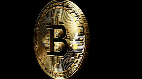 3D Cutout Bitcoin passing right to left on alpha background, Stock Animation