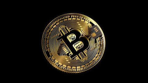 3D Cutout Bitcoin rotating on alpha background Animation