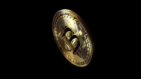 3D Cutout Bitcoin rotating on alpha background, Stock Animation