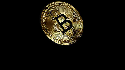3D Cutout Bitcoin falling on alpha background Animation