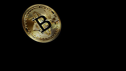 3D Cutout Bitcoin falling from left to right on alpha background Animation
