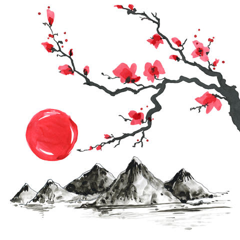 Tree branch in Japanese style. Watercolor hand painting illustration Fotografía