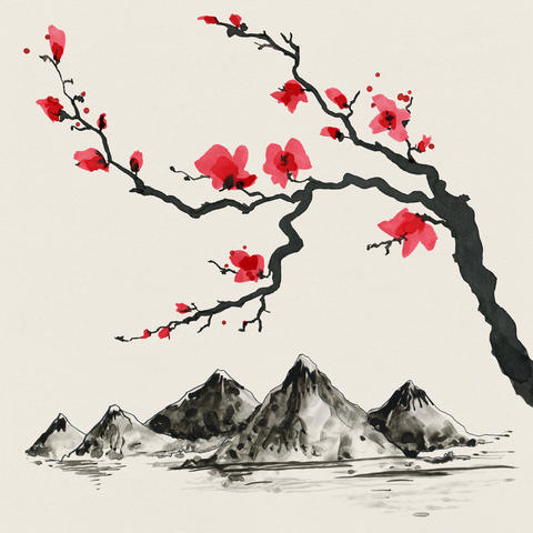 Mountains in Japanese style. Watercolor hand painting illustration Photo