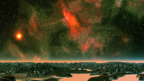 Sunset on the Background of the Beautiful Nebula Animation