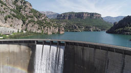 Dam at Llosa del Cavall reservoir Catalonia Spain Footage