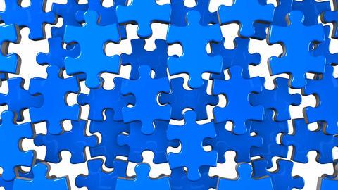 Blue Jigsaw Puzzle On White Background Animation