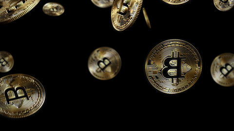 3D Cutout Bitcoins falling on alpha background Stock Video Footage