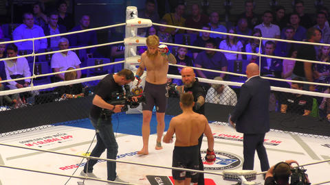 Orenburg, Russia - June 15, 2018 year: The fighters compete in mixed martial Footage