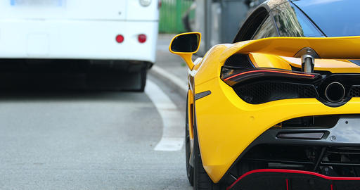 Rear View Of A Beautiful Yellow Supercar Live Action