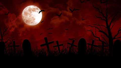 Halloween Cemetery in Red Sky Animation