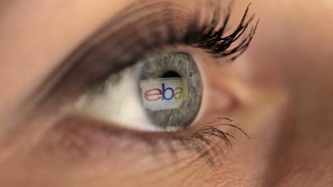 Woman girl eye macro looking monitor, online shoping Internet ebay Footage