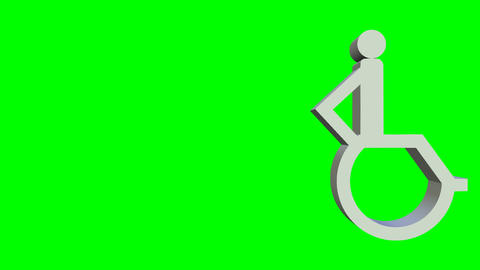 Animated wheelchair icon, 3d wheelchair pictogram animated on green screen 애니메이션