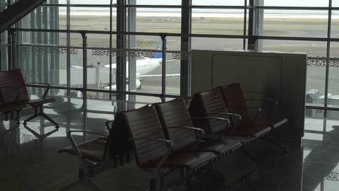 Empty departure lounge at Airport Footage