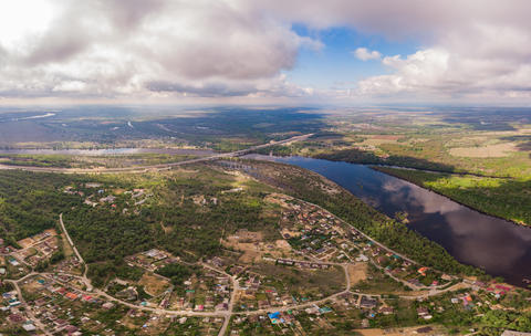 Aerial view on river and town Fotografía