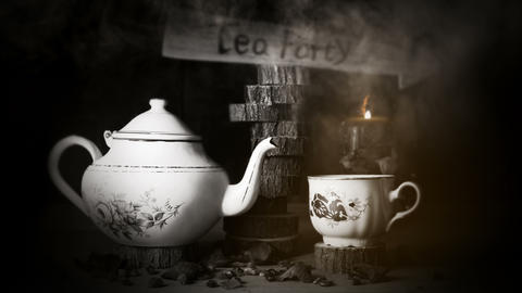 4K Cinemagraph - Cup of Tea and Teapot On Wooden Table With Arrow Sign, Smoke Animation