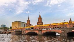 Berlin city skyline timelapse at Oberbaum Bridge and Spree River, Berlin, Footage