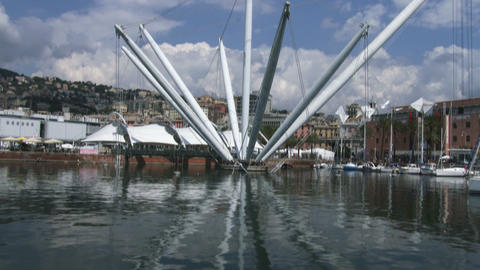 Bigo structure in the old port of Genoa Live Action