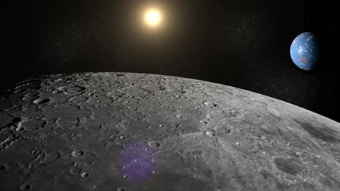 Moon Earth and Sun From Space Stock Video Footage