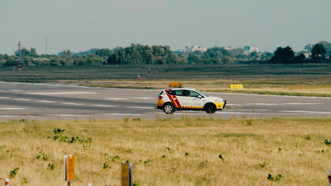 WARSAW, POLAND - JUNE 15, 2018. Airport runway inspection car Live Action