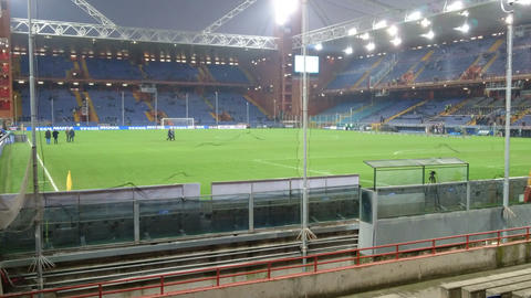 Luigi Ferraris stadium in Genoa, Italy, before a soccer match Live Action